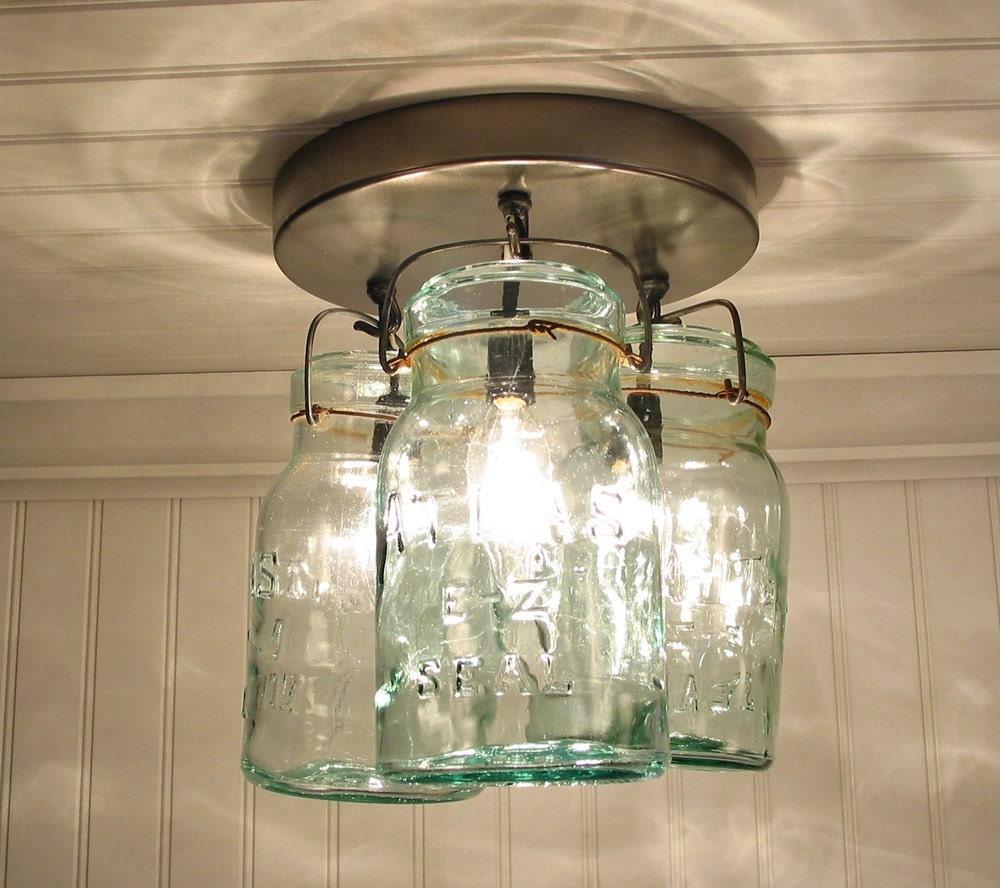 Greenish Vintage Canning Jar CEILING LIGHT Created NEW