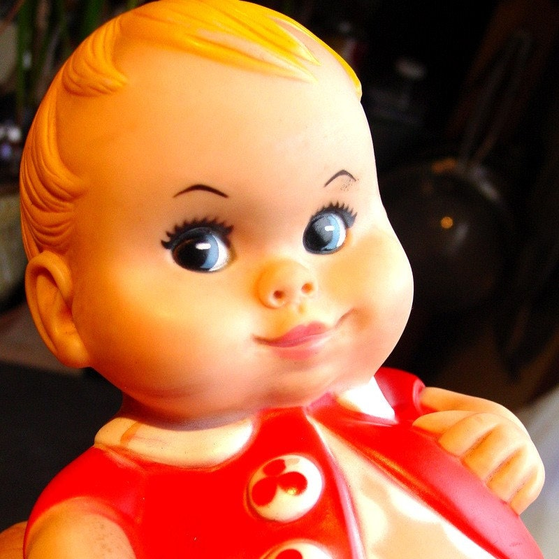 Fat Baby Boy Plumpees Rubber Toy 1967 Uneeda By