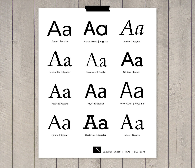 "Font Styles - Script, Handwritten & Classic - 8 x 10"" Print"