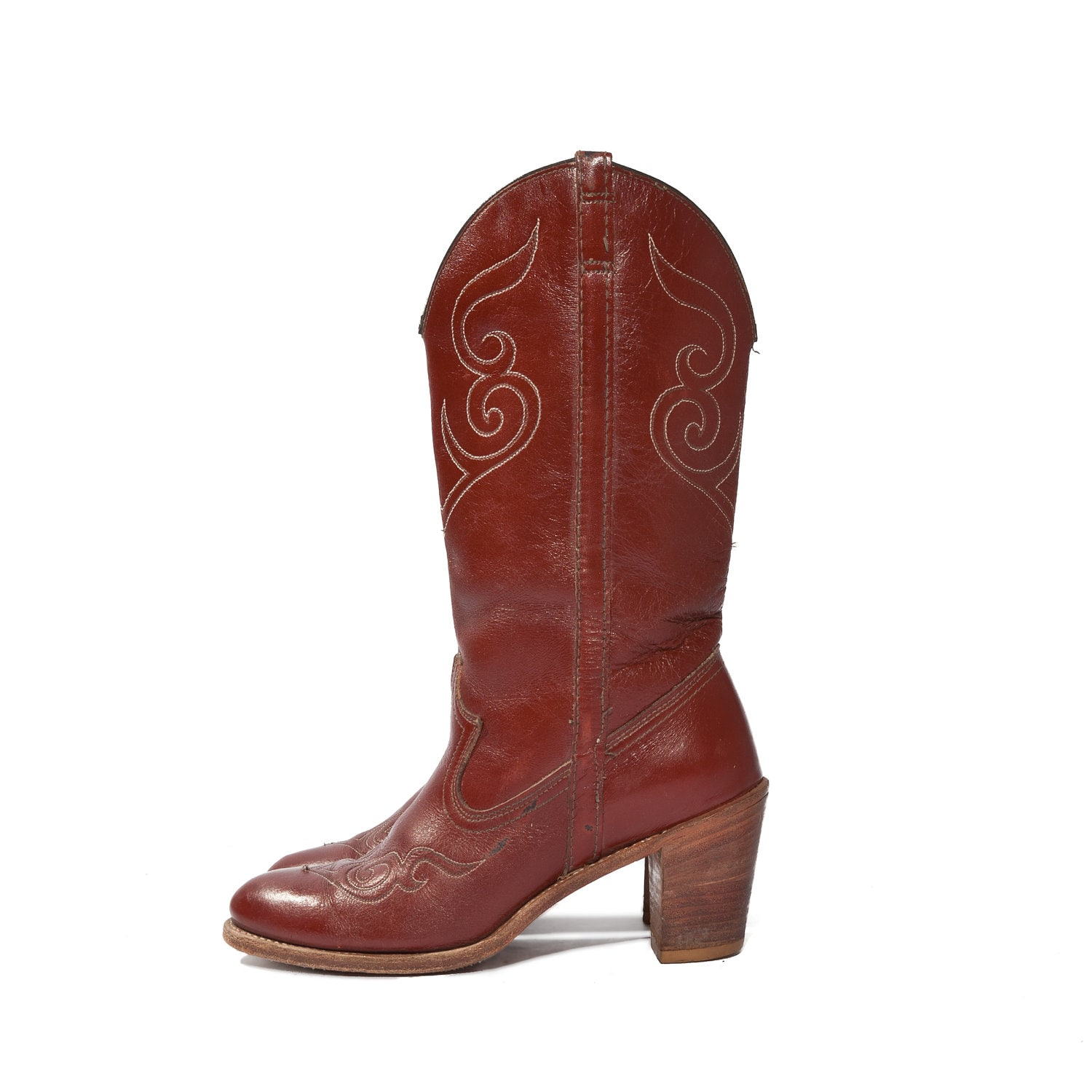 vintage dingo stacked heel cowboy boots burgundy by