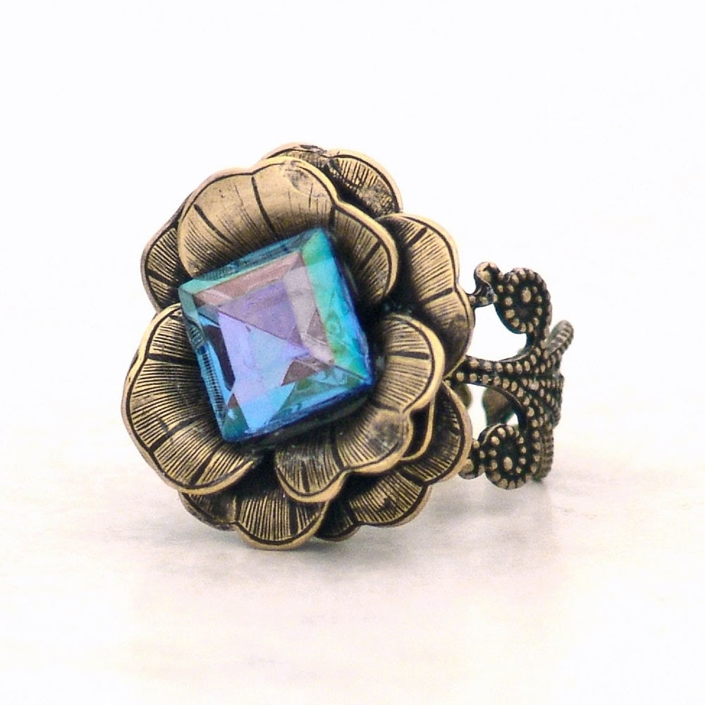 Blue Magic Fairy Rose Cocktail Ring Metal Filigree Adjustable