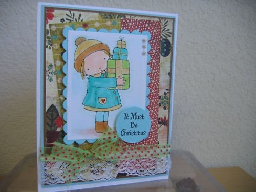 IT MUST BE CHRISTMAS GIRL WITH PRESENTS HANDMADE CARD