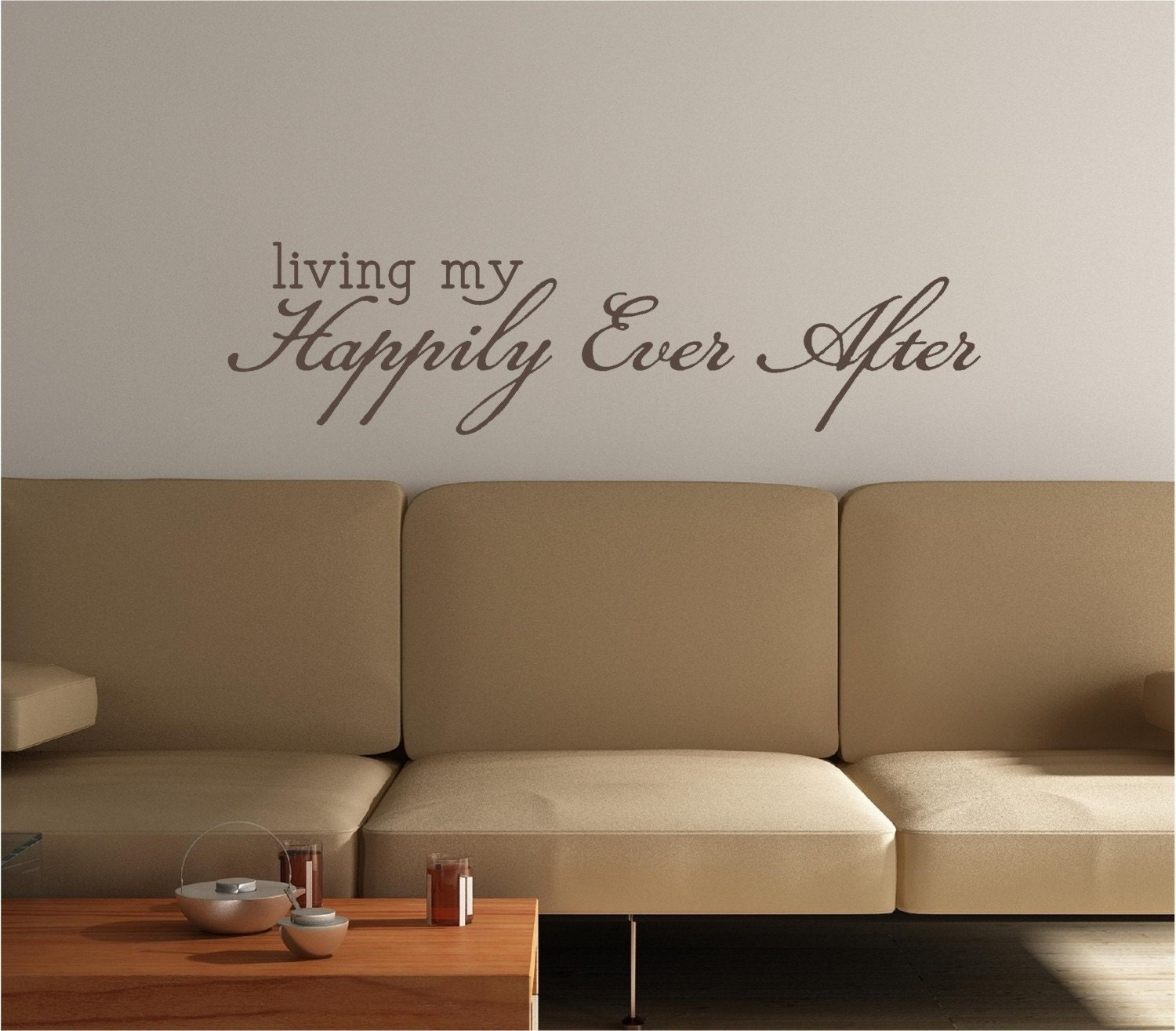 35x9 Living my Happily Ever After Love Door Decoration Vinyl Decor Wall Lettering Words Quotes Decals Art Custom Willow Creek Signs