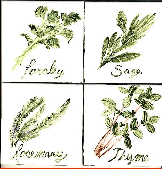 PARSLEY SAGE ROSEMARY AND THYME CERAMIC TILES SET OF 4 by AmgPub