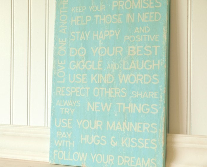 Family Rules Sign - Love One Another, Giggle and Laugh, Do Your Best. Vintage Style in Aqua Teal Turquoise. Cutomize Personalize it.