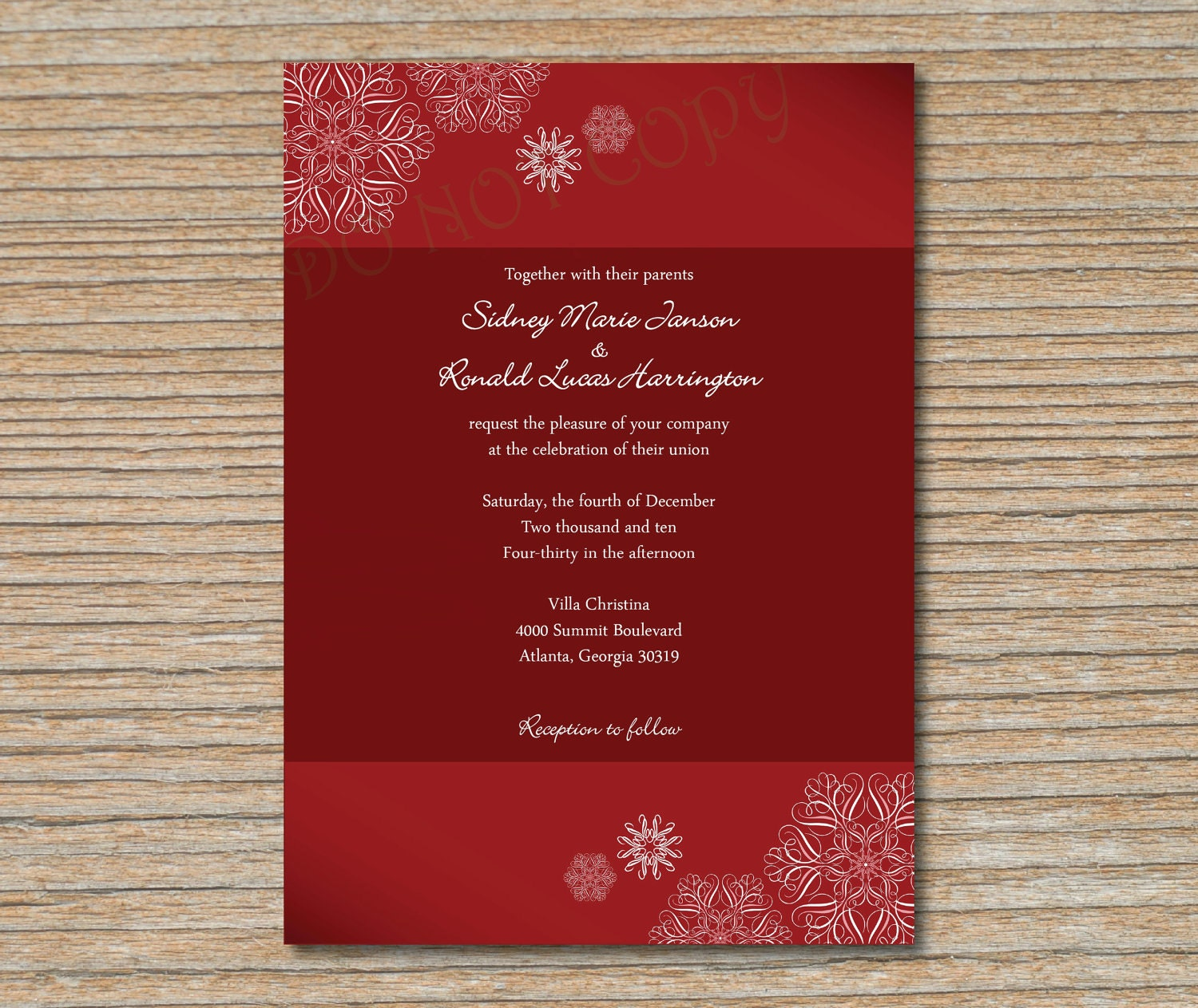christmas wedding invitations | greek wedding dresses 50th wedding ...