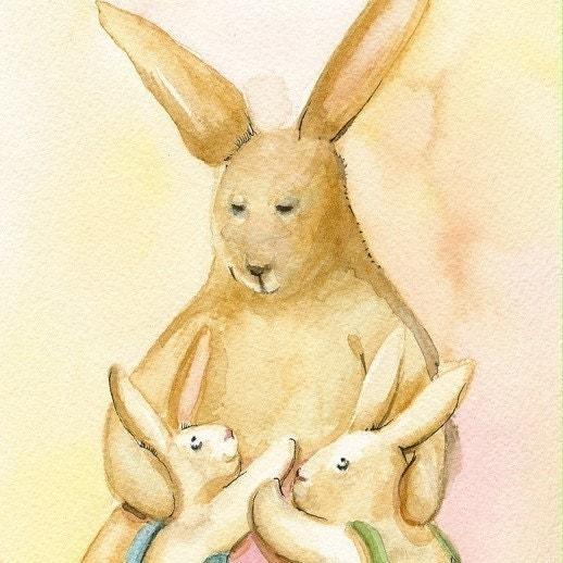 Nursery Art, children's room art - Rabbit art -The boys - Print