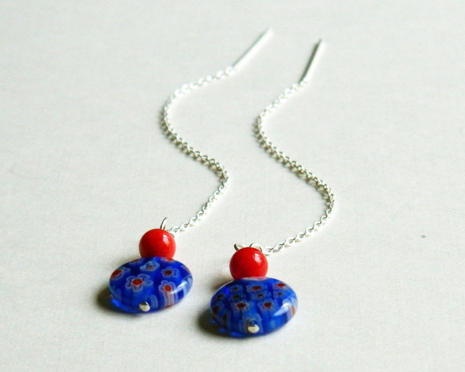 red white blue earrings ear thread earings millefiori - cowriegirl