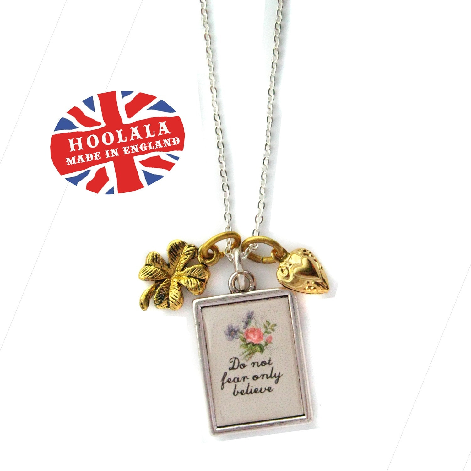 Do Not Fear Proverb Charms - Do Not Fear Only Believe  Charm Pendant Necklace from Hoolala