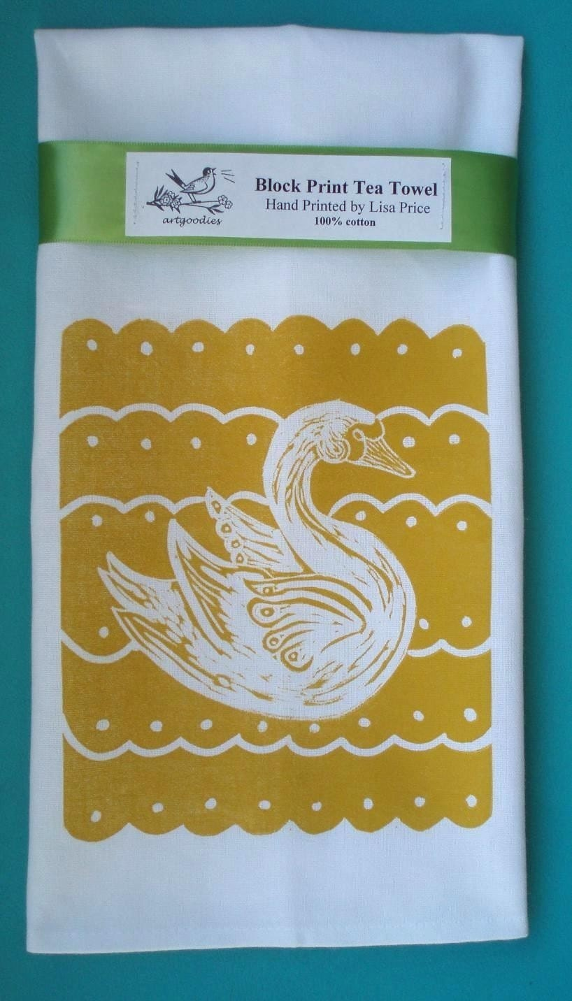 NEW block print swan towel