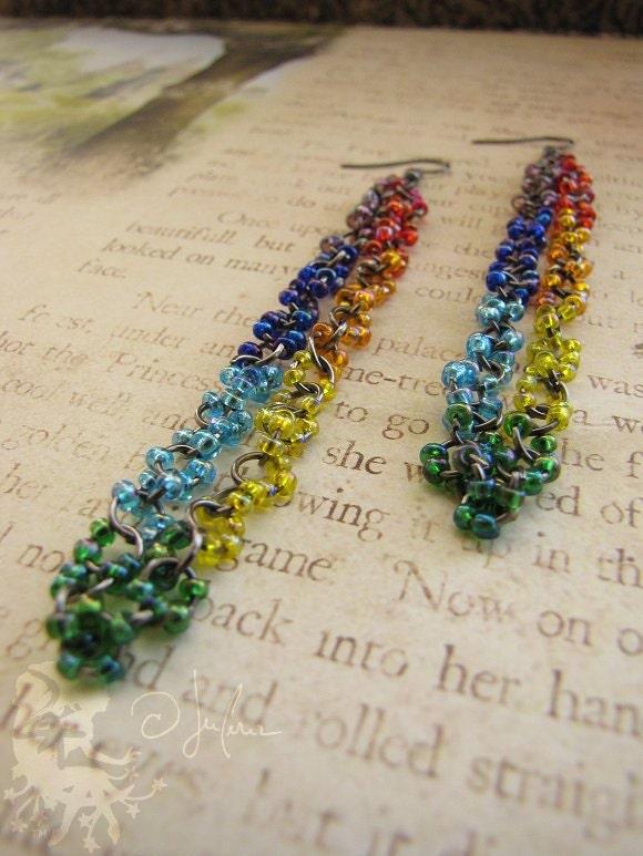Magickal Earrings - Chakra Color Vibrant Rich Energy Long Dangle Red Orange Yellow Green Blue Indigo Violet - Encirclers