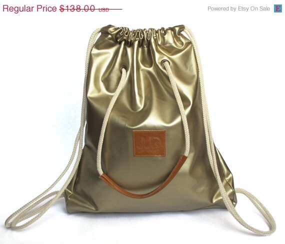 Valentines SALE, Backpack/ Tote, Gold color, JUD Hand Made, Fashion, Gym, Laptop, Student, Unisex, Luxury, Cool, Travel, Shopping,  Premium - JUDtlv