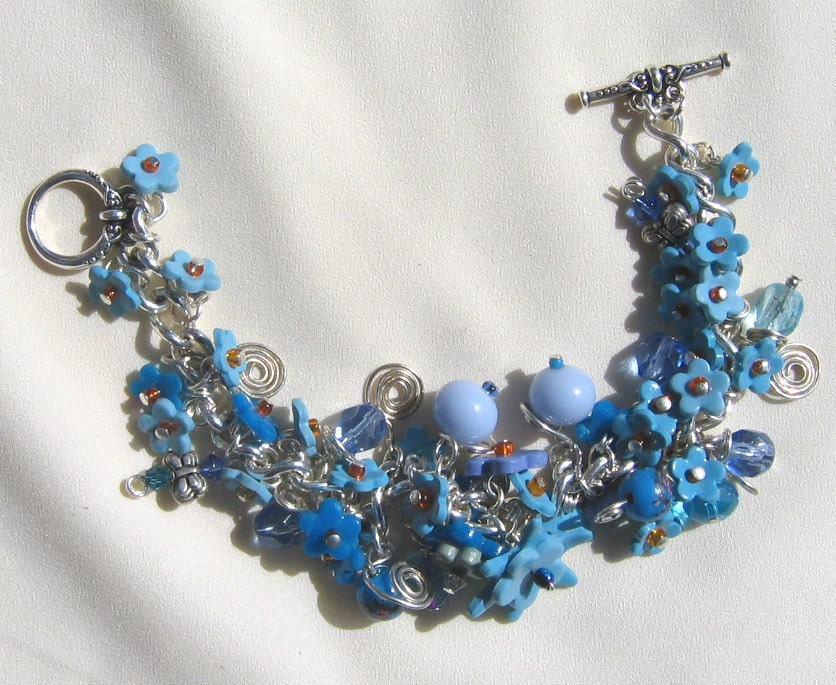 Charm Bracelet Blue Forget Me Not Statement Jewelry