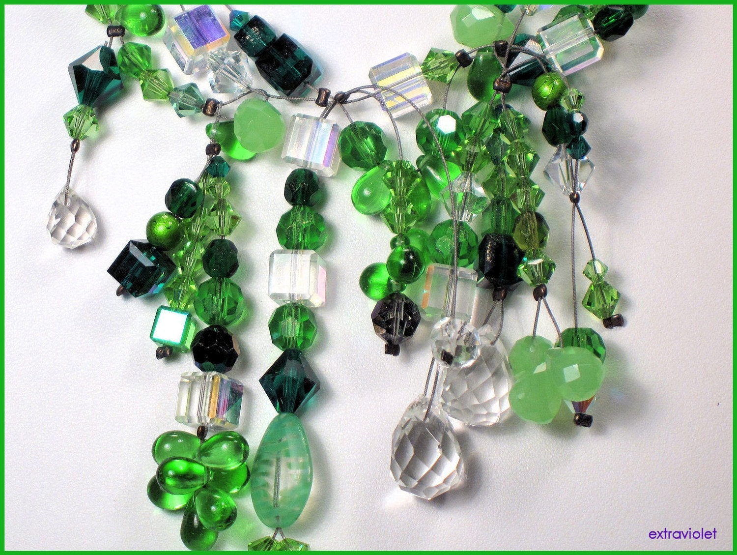 Gorgeous Green Swarovski Necklace by Extraviolet