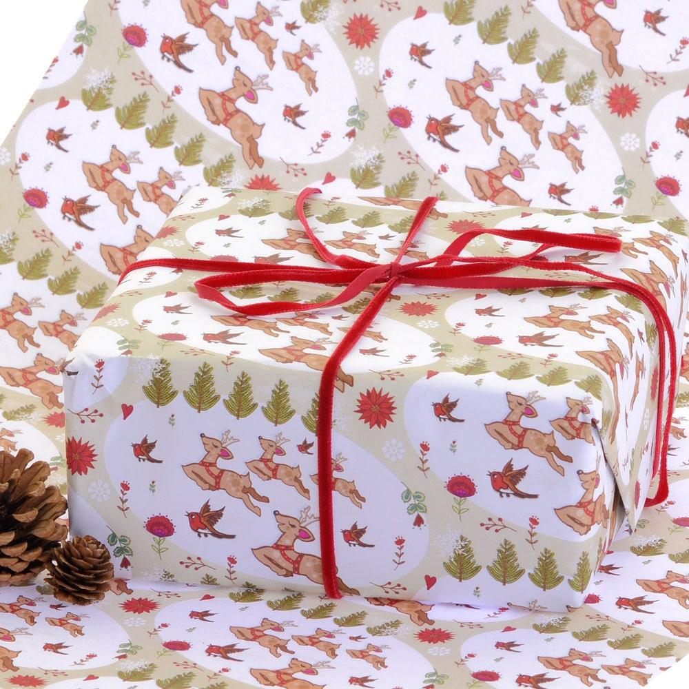 Gift Wrap 2 pack - se précipitant à travers la neige