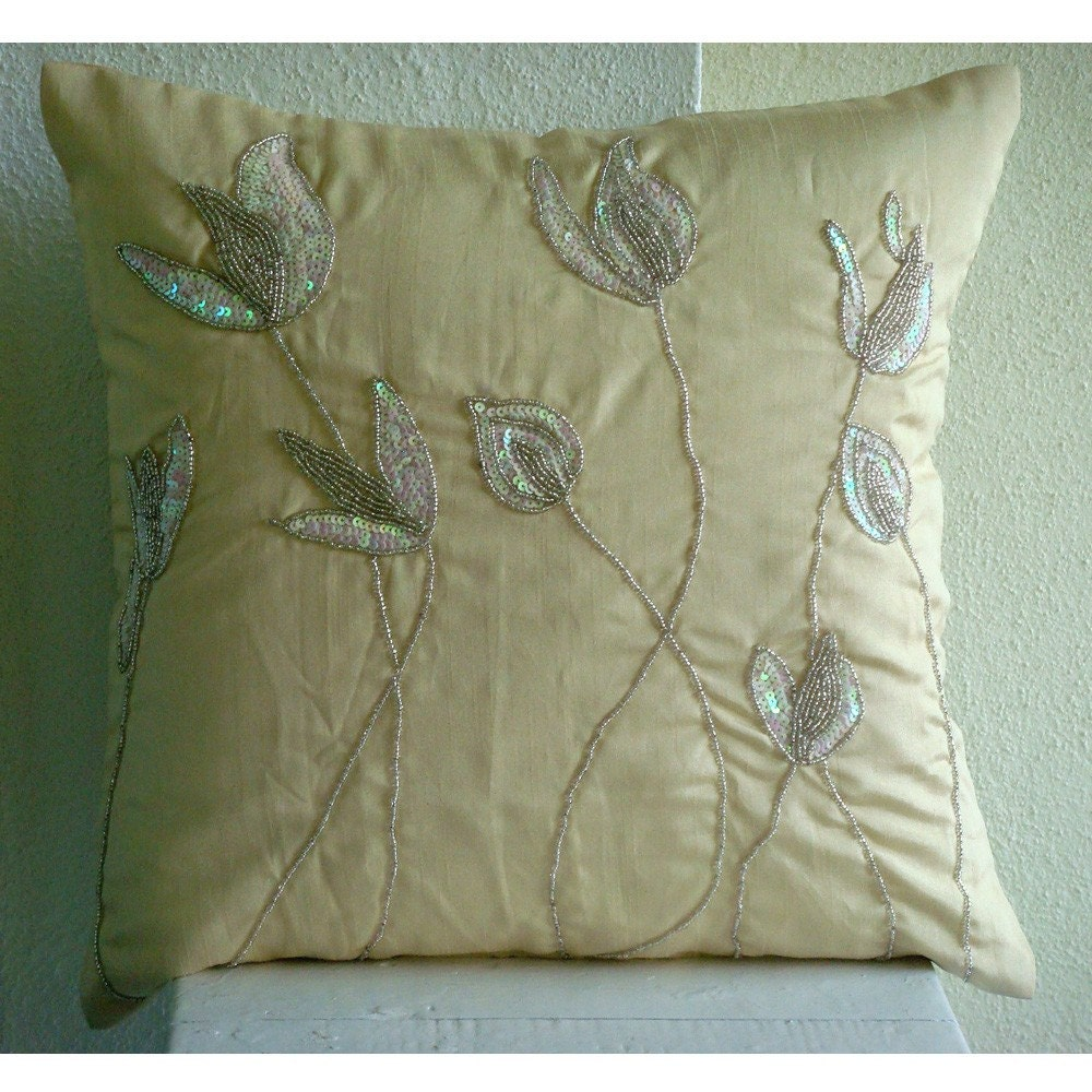 The HomeCentric Lily Of The Valley  - 16x16 inches Square Decorative Throw Cream Silk Pillow Covers with Sequin Embroidery at Sears.com