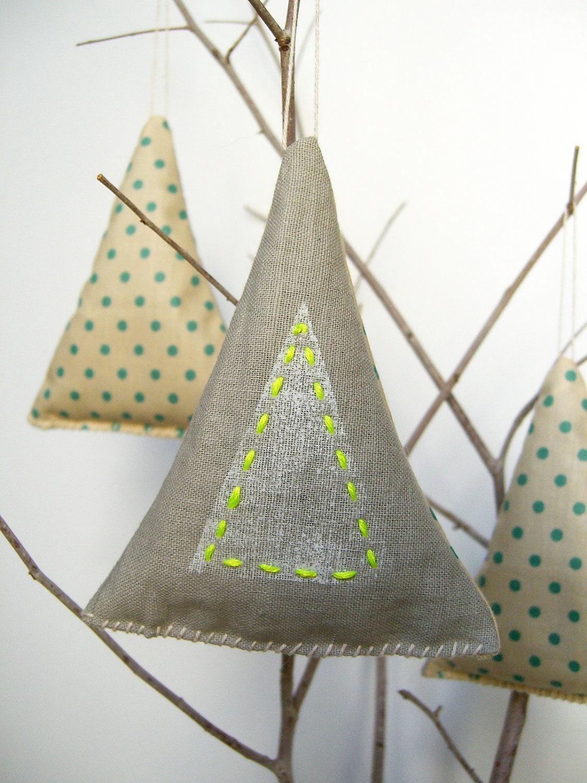 Balsam Fir Christmas Tree Ornament Sachets with Neon and Polka Dots - Set of 3
