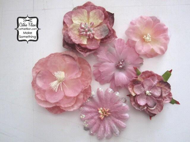 6 Дасти розовый цветок бархата и шелка Украшения - изменены цветы - Дамских, Измененные Couture, волос Цветы