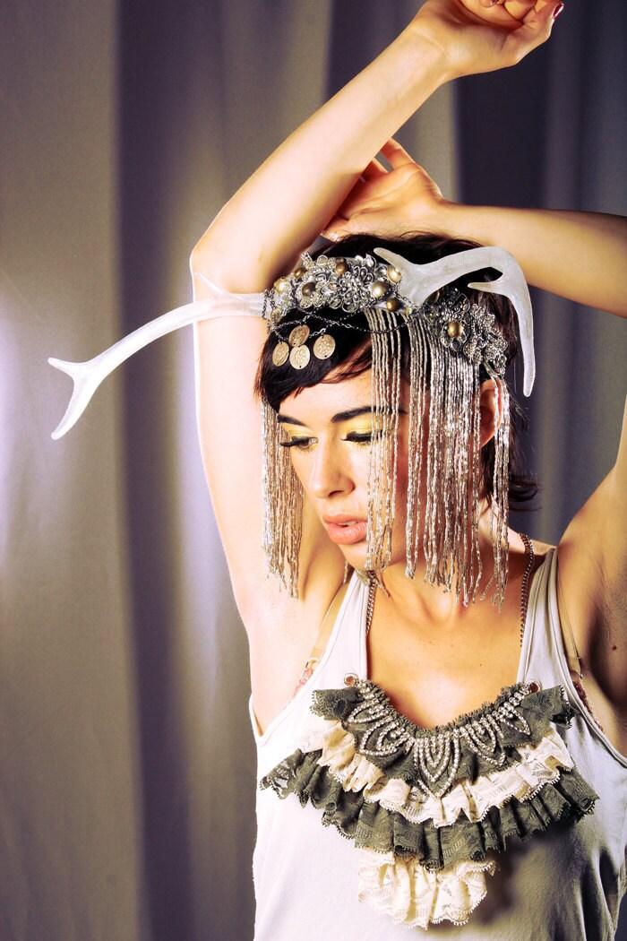 Egyptian Goddess Antler Head Piece - Noir Headdress large clear glitter deer horn Silver headband Tribal Kuchi coins Belly Dance Festivals