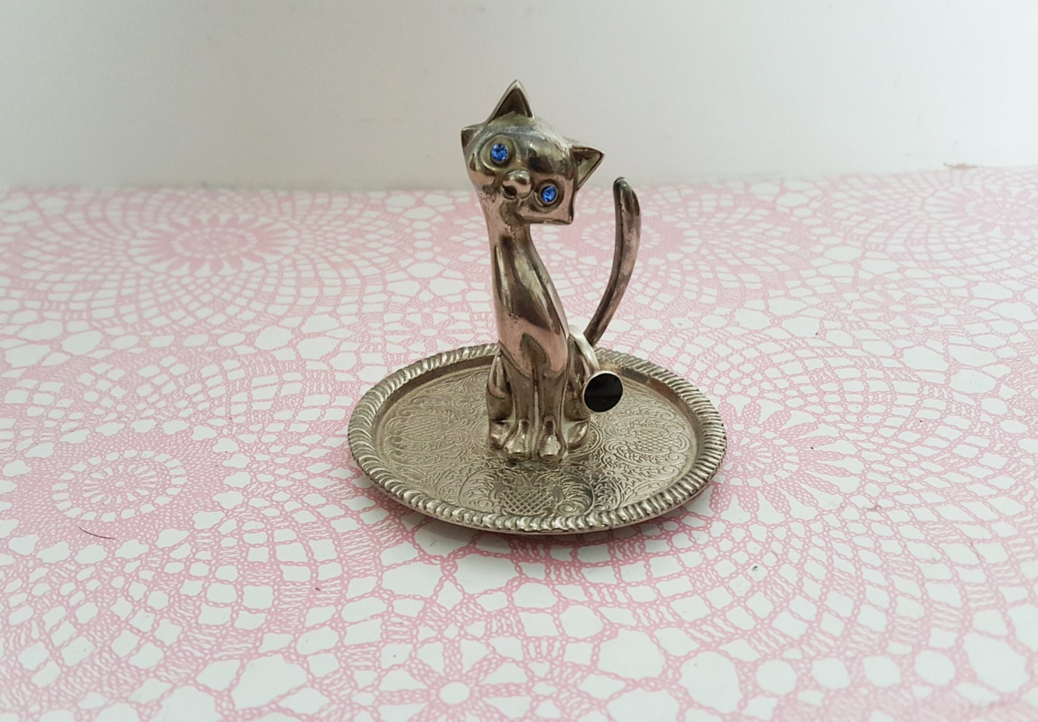 Vintage silver plated cat ring tree  cat ring stand cat ring dish silver and blue cat jewellery cat jewelry cat ring cat gift