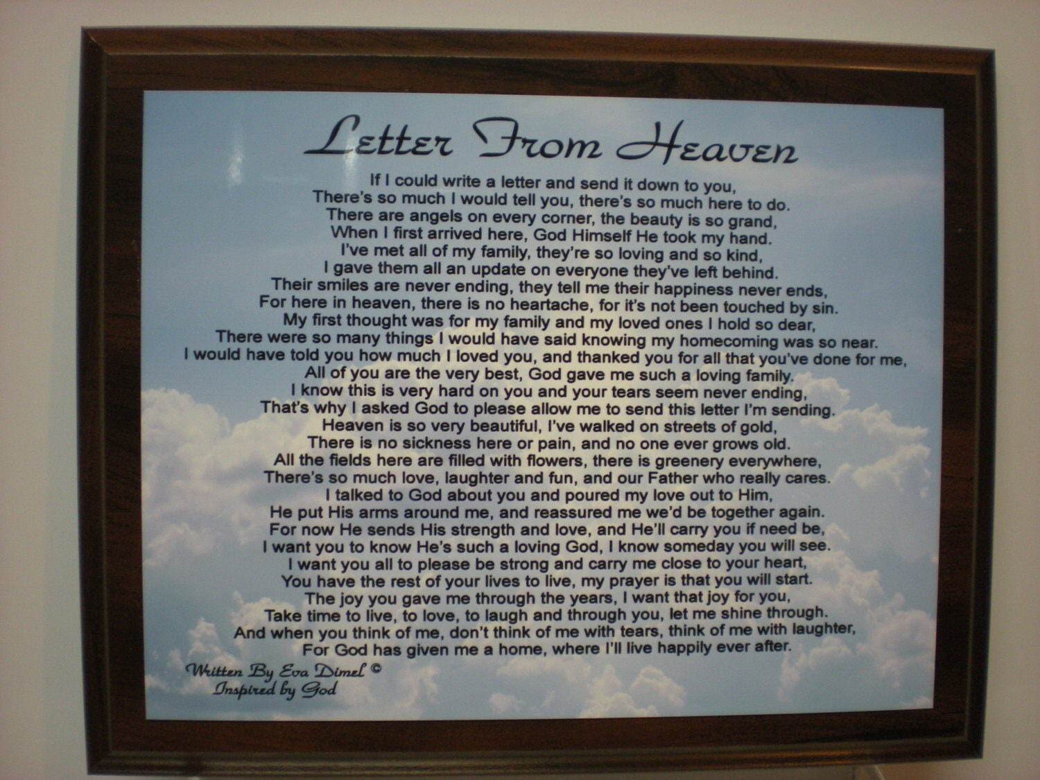 Letter From Heaven Poem