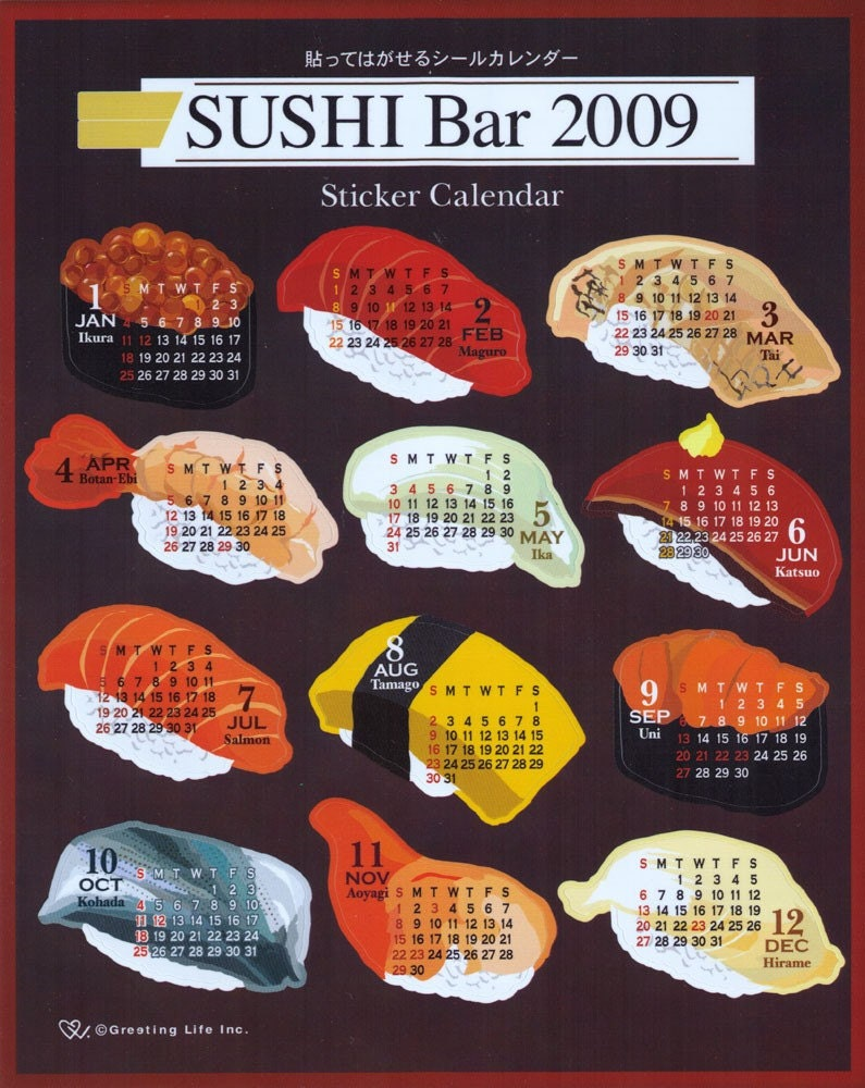 Japanese Sushi Sticker Calendar 2009