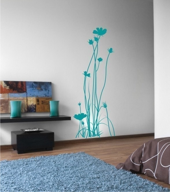 Vinyl Wall Decals Stickers Art Graphics Tall Simple Flowers Daisy Daisies