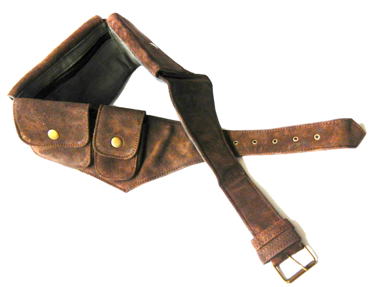 leather utility belt brown and blue suede 5 by earthcultured