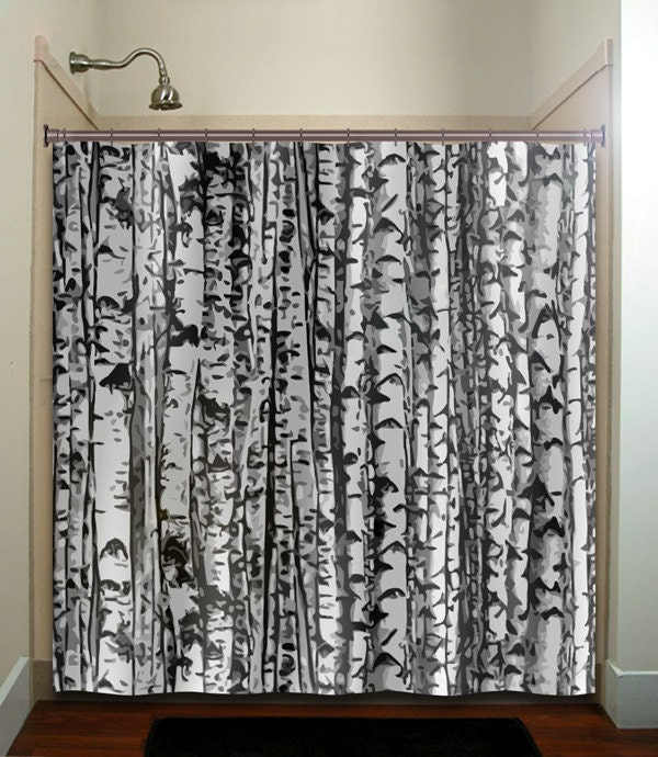 Trunk Forest White Birch Trees Shower Curtain By Tablishedworks