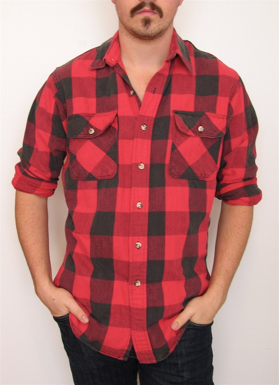 Vintage red and black flannel shirt sz m by karmadeefa on etsy for Red black and white flannel shirt