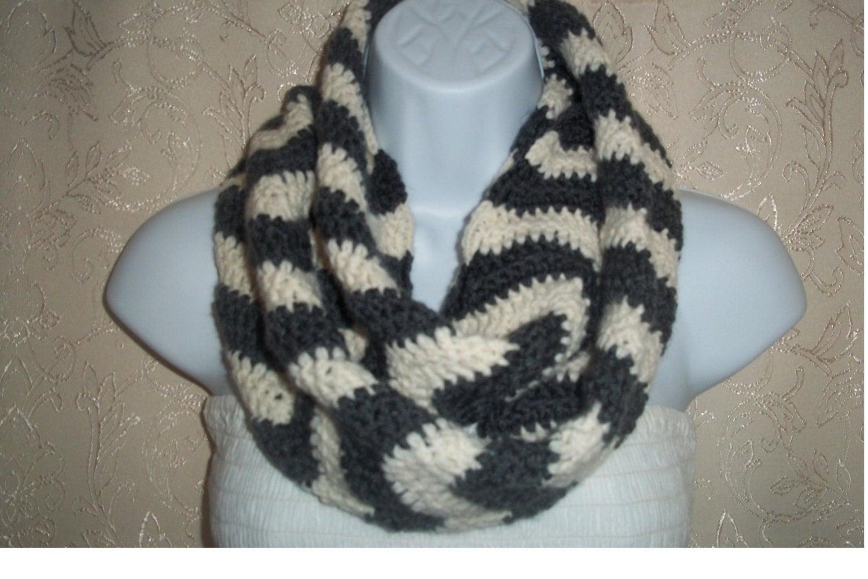 Infinity scarf zigzag scarf crochet scarf by ...