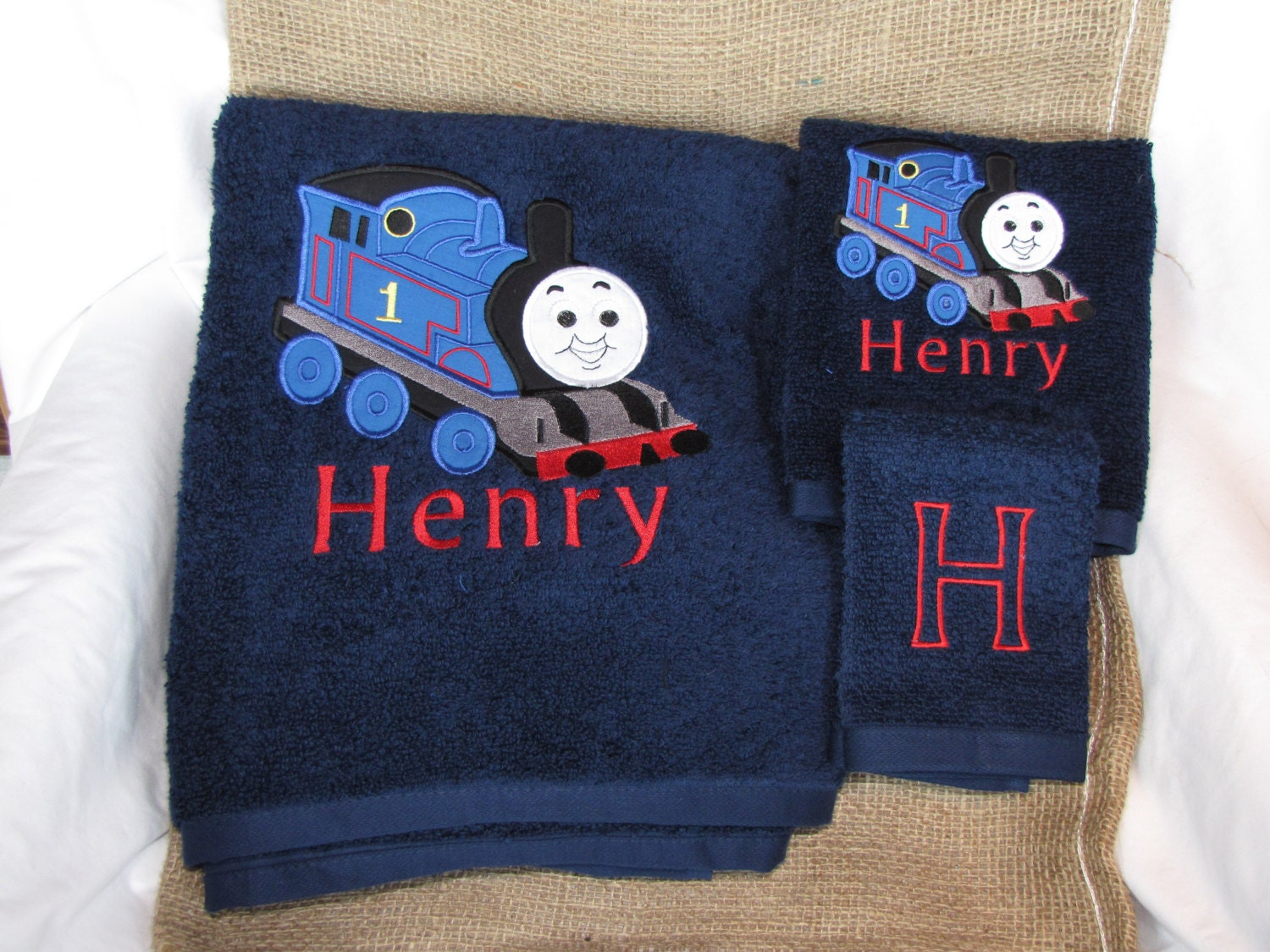 Thomas the train applique bath towel set by sweetsewnvirginia for Thomas the train bathroom set