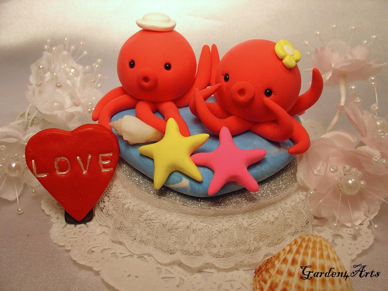 love octopus couple with ocean base   (custom order)