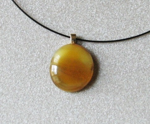 Golden Caramel Drop Pendant Necklace