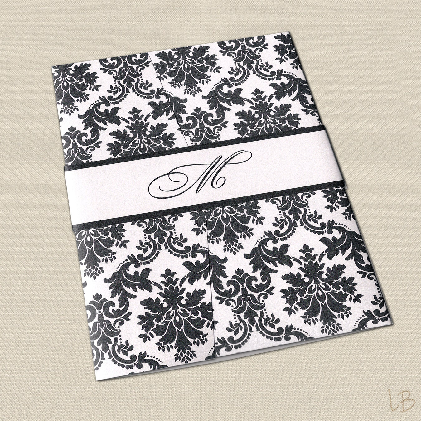 Black And White Damask Wedding Invitation Set By LBcreativepaper