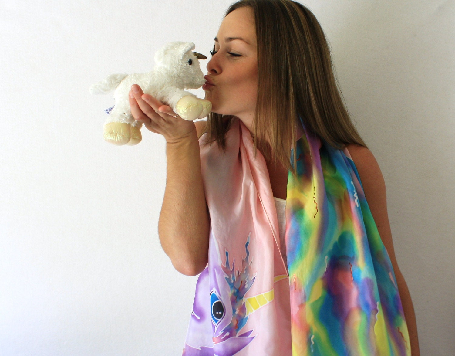 Pink Silk Scarf - Unicorn- Hand Painted Silk Scarf - Summer Fashion -Rainbow