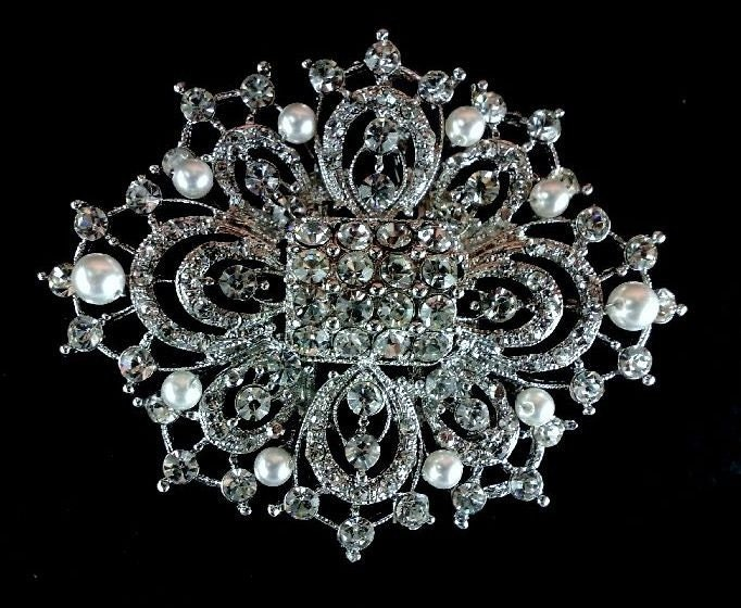 Regal Bridal Brooch Pin Pendant Swarovski Pearl Crystal - LEAH