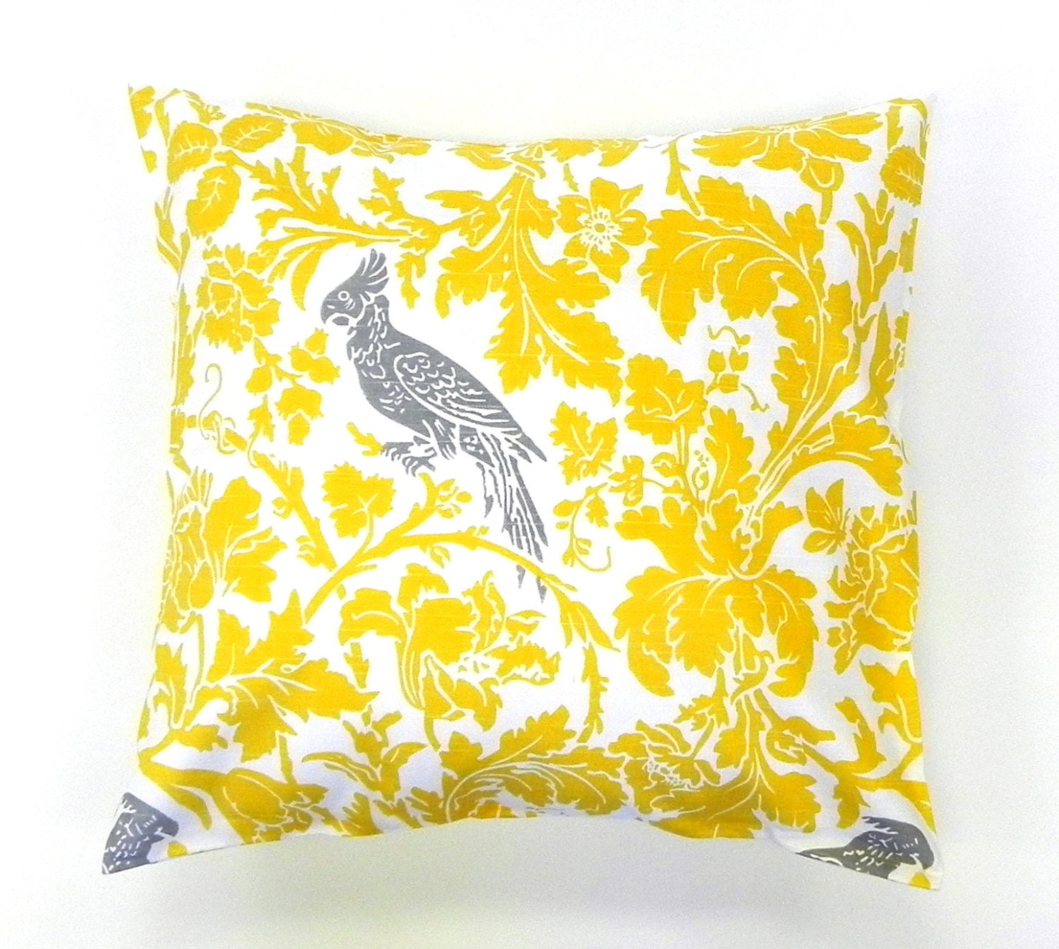 16x16 Pillow Cover. Birds and Flowers in Yellow, Grey and White - GaranceCouture