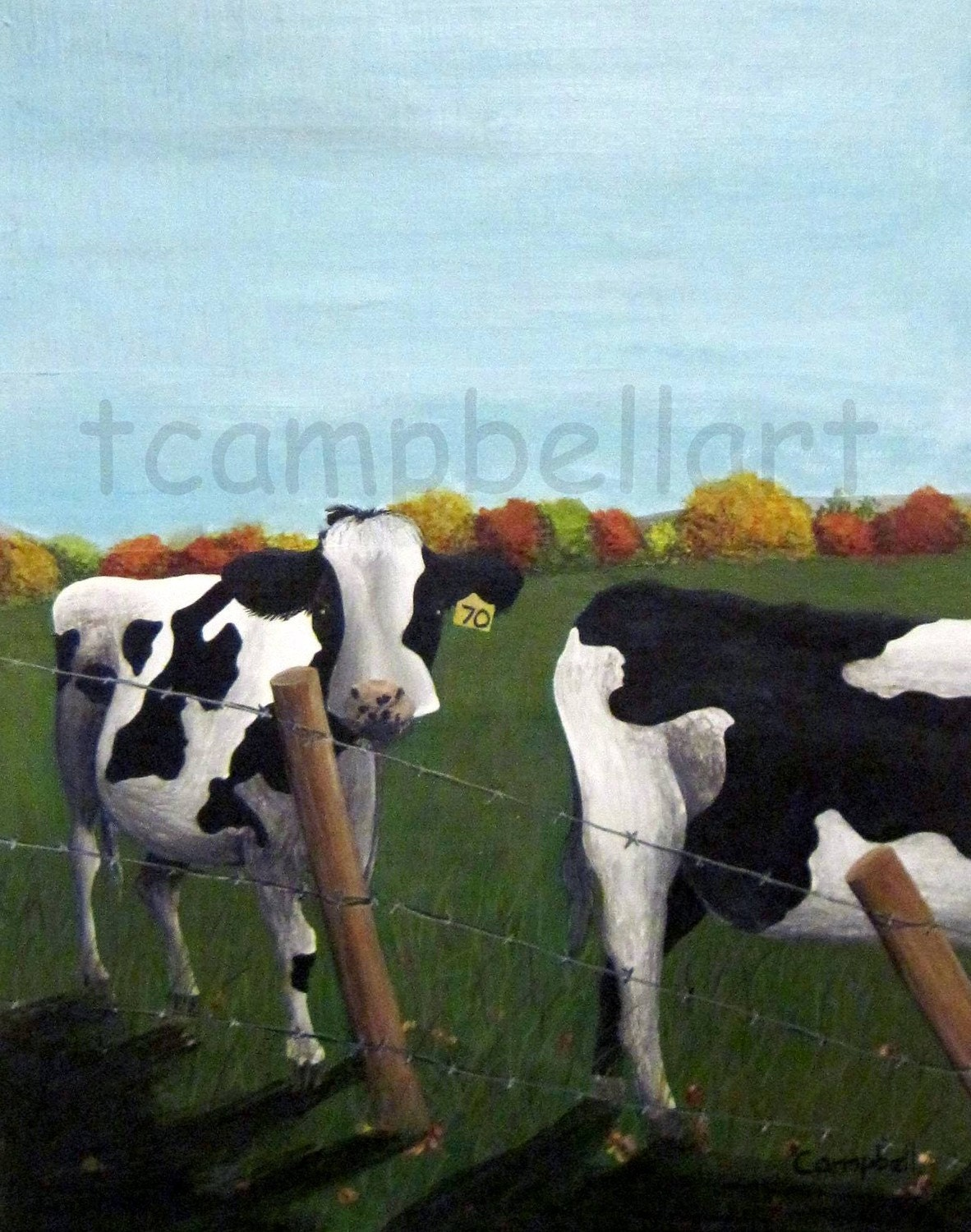 Cows in New England Autumn Painting