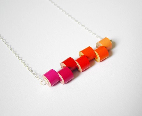 Sterling silver color pencil necklace Summer No. 1, the orange, magenta and red series