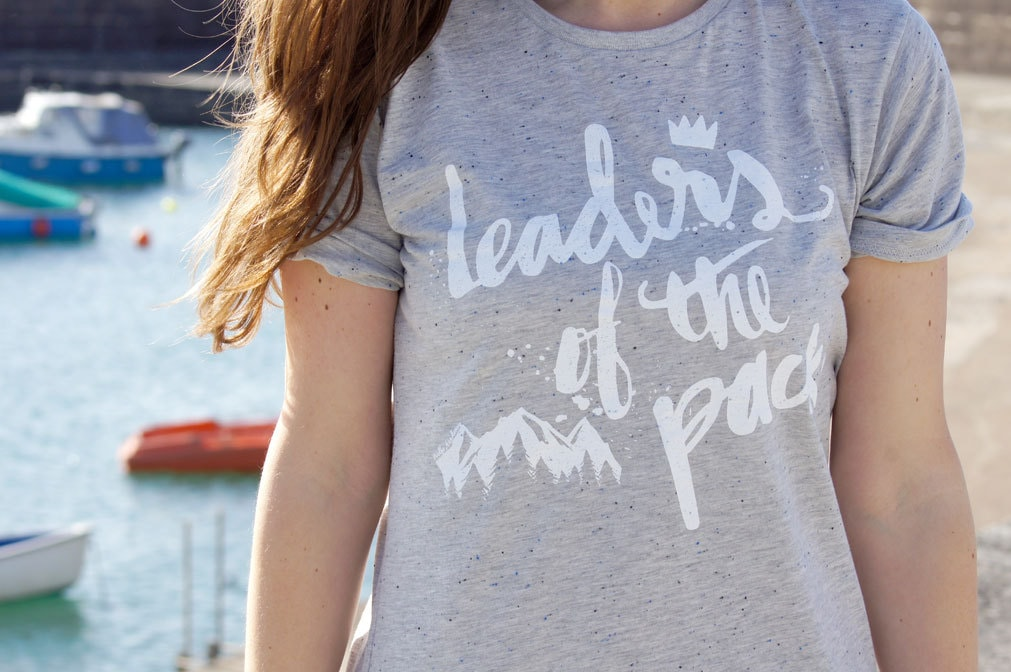 Fairtrade Grey Speckle Screen Printed Tshirt  Leaders of the Pack