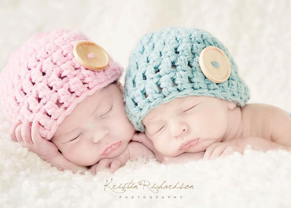 Crochet Hat Patterns For Twin Babies : Baby Button Hat for Twins Crochet Newborn by OopsIKnitItAgain