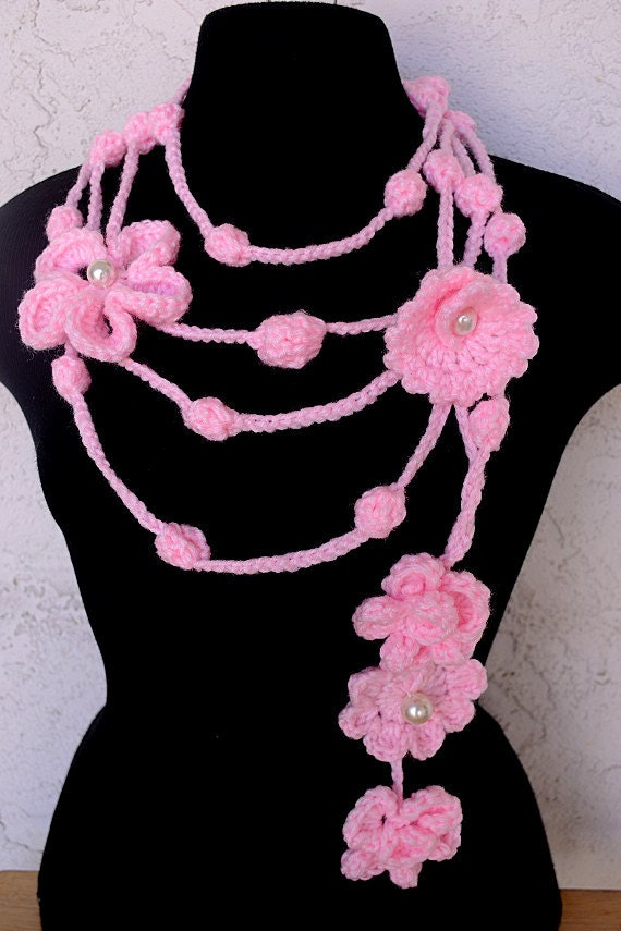 Crochet Lariat Pattern Flowers & Leaves PDF by jewlzs on Etsy