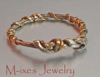 M-ixes OOAK Ring -Silver and Gold Fill - IV - SiMple Series -7.25-17.5-O/P-55.5