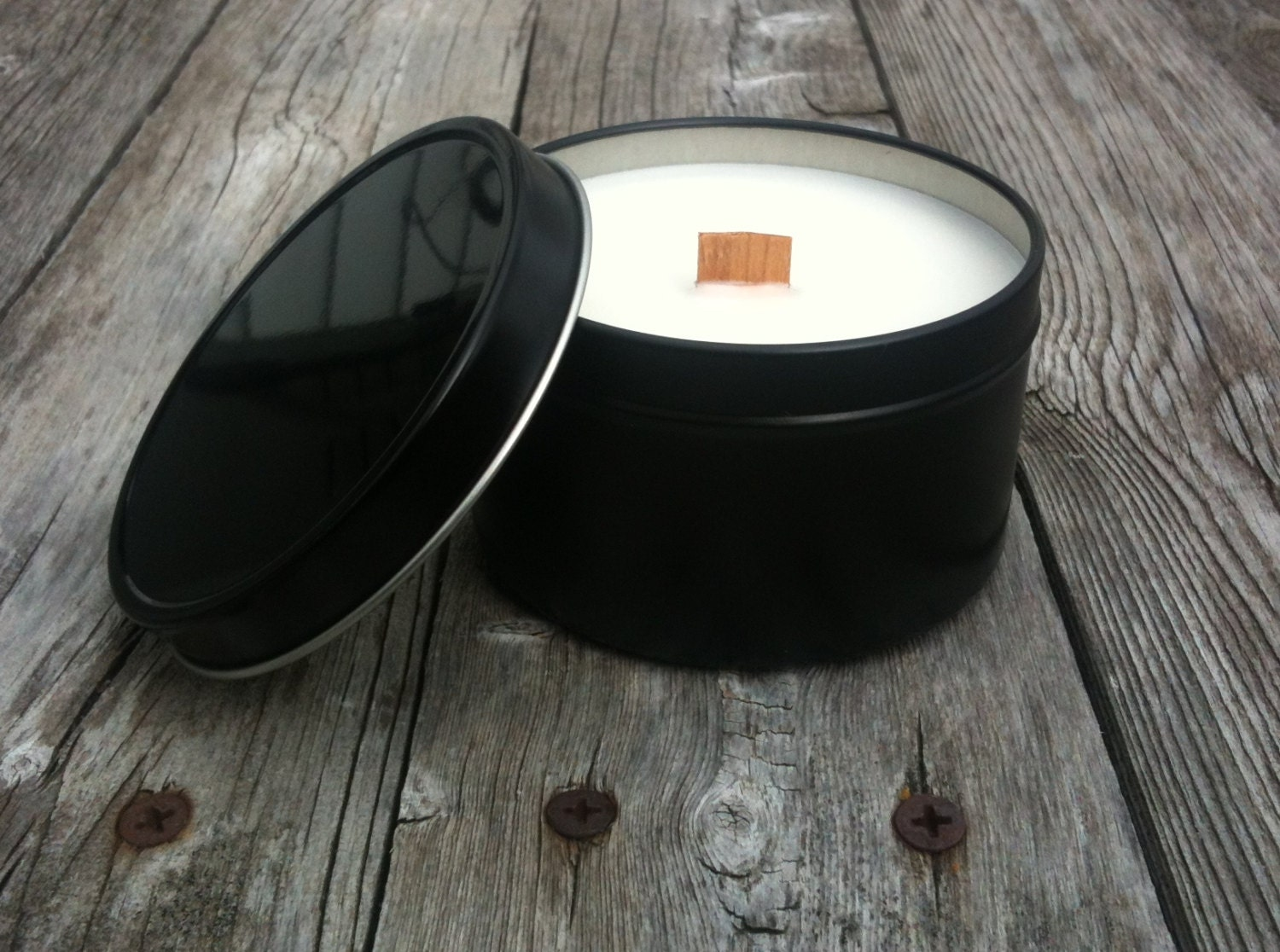 Wood Wick Soy Candle Sleek Black Tin Choose your Scent 8 ounce Rustic - SandyLandStudio