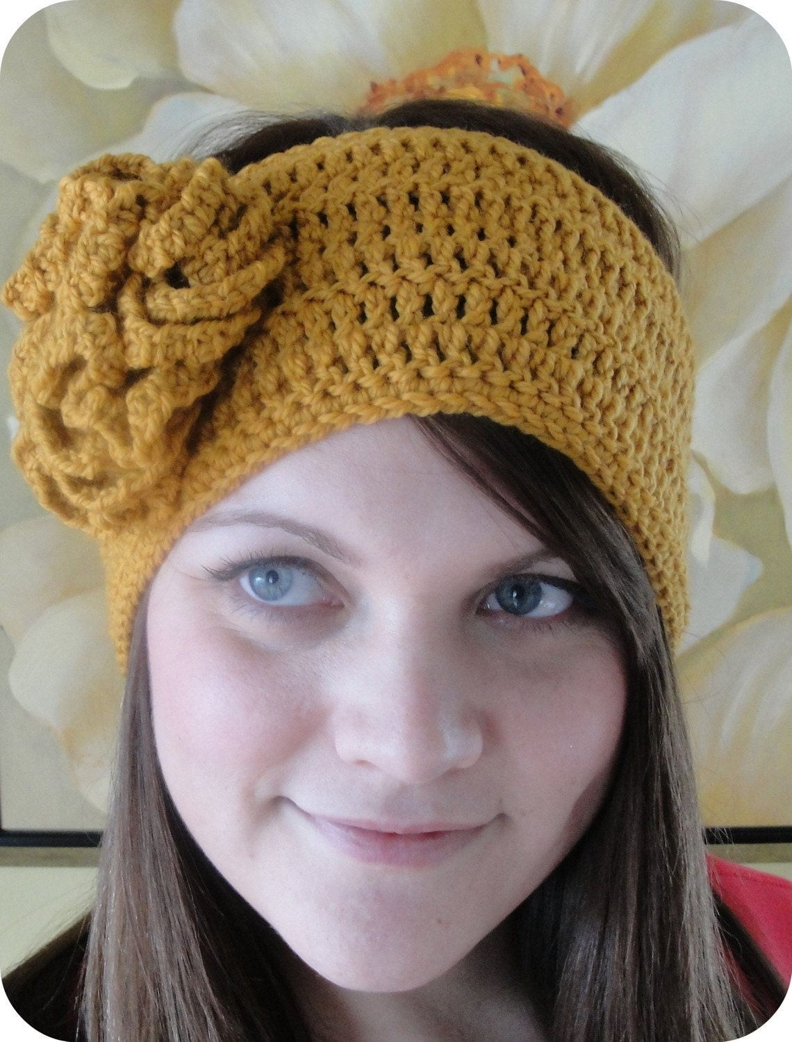 HEADBAND Crochet Pattern HEADWRAP with Flower by ...
