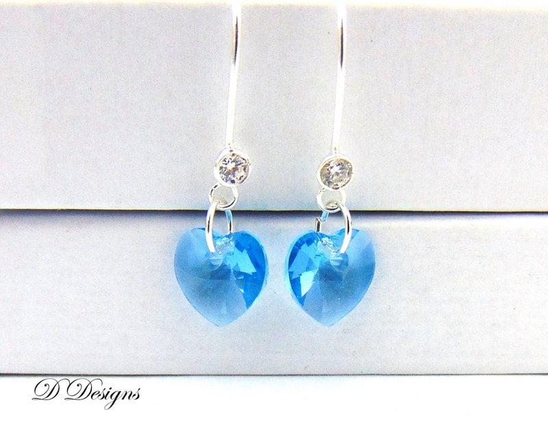 March Birthday Earrings Aquamarine Earrings Aquamarine Jewellery March Birthday Gifts Sterling Silver Earrings Heart Earrings