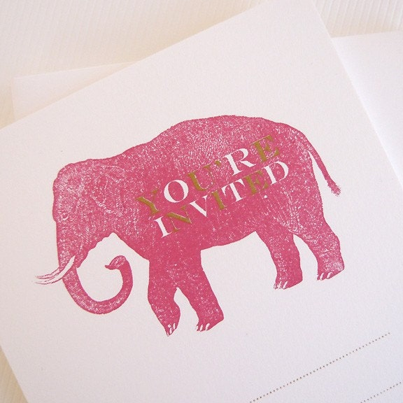 pink elephant hand-printed invite flat note