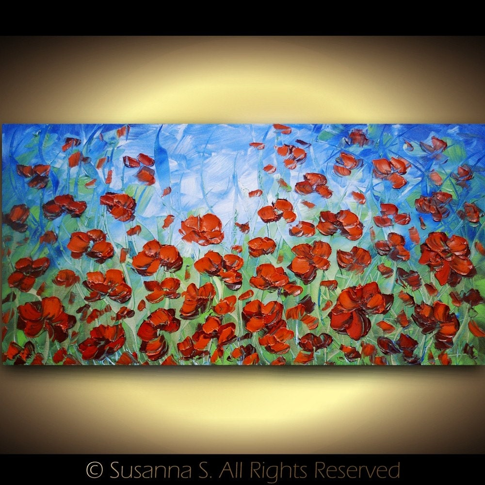 ORIGINAL Abstract Modern Art Large Contemporary Floral Orange Red Poppies Palette Knife Impasto Oil Painting by Susanna 48x24