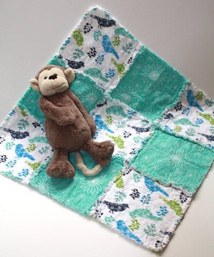Girls Bird Stroller Blanket Rag Quilt